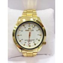 Relógio Masculino Tecnet Dourado Frete Grátis