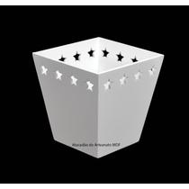 15 Cachepot Borda Estrela P Branco 11x7,5x7,5 - Mdf -madeira