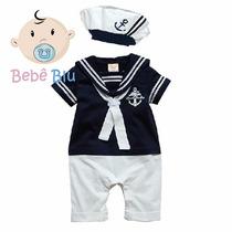Conjunto Bebê Marinheiro Fantasia Gorro Infantil Enxoval