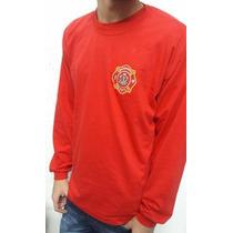 Camiseta Bombeiro Civil Manga Longa Vermelha C/ Brasão