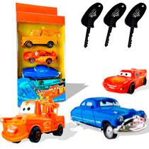 Coleção C/ 3 Carrinhos Aperte E Lance Carros Disney Original