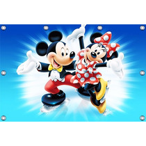 Mickey E Minnie - 1,50 X 1,00m Painel Infantil Decorativo