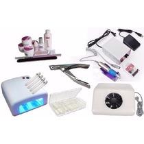Kit Unha+gel-aspirador+cabine 36w+200 Tips+lixadeira+alicate
