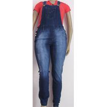 Jardineira Macacão Jeans Comprido Plus Size