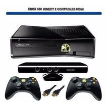 Xbox 360 Jtag Hd500 C/jogos, Carregador, 2 Controle + Kinect