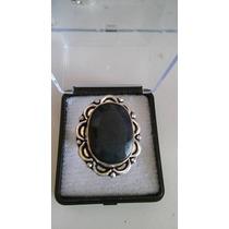 Anel De Safira Azul Escuro Ajustavel Prata 925