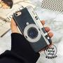 Capa Câmera De Couro Sintético Em Silicone Para Iphone 6plus