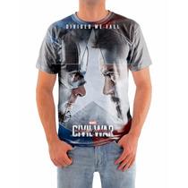 Camisa Capitão America E Homem De Ferro Em Malha Dryfit