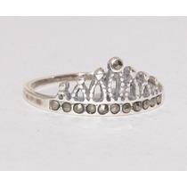 Anel Pandora Coroa De Prata 925 Aro Liso Com Pedras