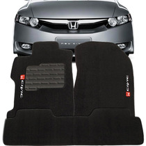 Jogo Tapete Carpete Bordado New Civic 2012 2013 14/... Preto