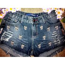 Shorts Feminino Jeans Customizado Cintura Alta Hot Pants