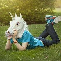 Máscara Swing Cabeça De Cavalo Branco Chifre Unicórnio Látex