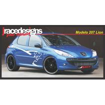 Kit Adesivo Carro Peugeot 206 / 207 Lion - Faixas Exclusivas