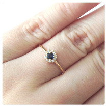 Anel Pedra Zircônia Cor Azul Safira Joia De Ouro 18k - 750
