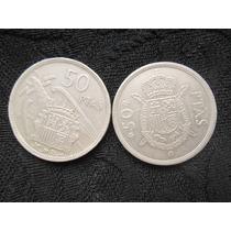 2 Moedas Espanha 50 Pesetas 1957 E 1975 Bonitas Niquel