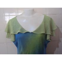 Blusa Tipo Bata Feminina Verde E Azul Da Lietto Tamanho 48
