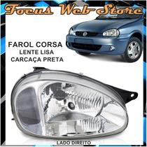 Farol Corsa Lente Lisa Carcaça Preta 94 95 96 97 98 99 Ld