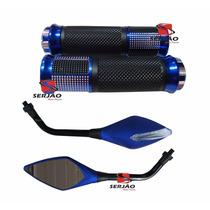Retrovisor C Pisca Manopla Azul Titan Cb300 Twister Falcon