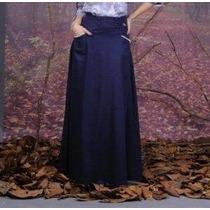 Via Angel Moda Evangélica Saia Jeans Longa Com Vivo No Bolso