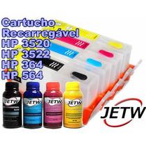Cartucho Recarregável Deskjet Hp 3520 3522 Hp364 564 + Tinta
