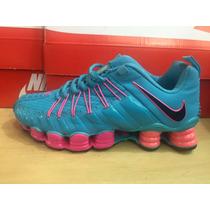 Tenis Nike Shox 12 Molas Azul Com Rosa Feminino Confira