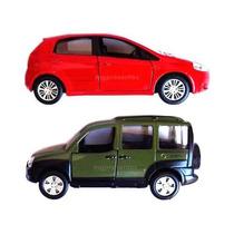2 Miniaturas Metal Carros Do Brasil-fiat-punto+doblo - 11 Cm