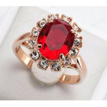 Anel Para Formatura Ou Noivado Com Pedra Vermelha