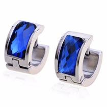 Brinco Masculino Argola Aço E Cristal Austríaco Azul ( Par )