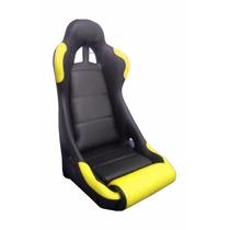 Banco Automotivo Concha Fixo Preto-amarelo + Trilho