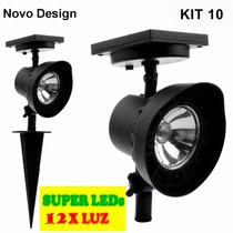 Refletor Led Solar Luminária Jardim Spot 12xluz Kit10 Branca