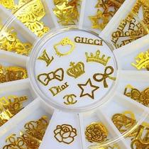 Jóia De Unha Decoração Metal Ouro 12 Modelos Fácil Aplicação
