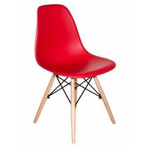 Cadeira Em Abs Com Base Em Madeira Vermelha