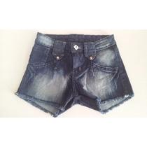 Short Jeans Desfiado Feminino Estonado Curto Customizad