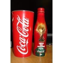Coca-cola Garrafa De Alumínio + Copo Copa Do Mundo 2014