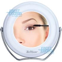 Espelho De Aumento 5x C/ Luz De Led Maquiagem Mesa Banheiro
