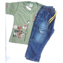 Conjunto Calça Jeans E Camisa Infantil Bebê