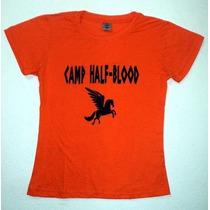 Camiseta Acampamento Meio Sangue Percy Jackso Gratis Botton