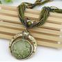 Colar Feminino Metal Cobre Pedra Sintética Vintage Verde