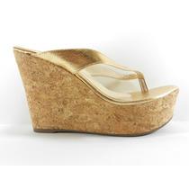 Sapato Feminino Tamanco Anabela Outlet Marina 38 Dourado