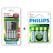 Kit Carregador Philips Com 4 Aa 2450mah + Cartela 4 Pilhas