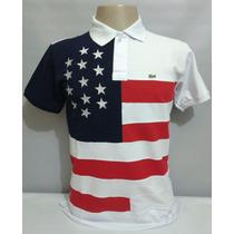 Camisa Polo País Estados Unidos Com Estrelas Bordadas.