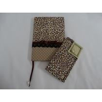 Caderno Encapado Tecido, Porta Óculos Ou Case Celular