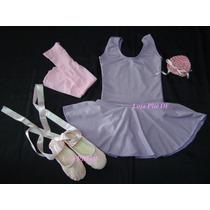 Roupa De Bale Ballet Bailarina Infantil Rosa Lilas Completa