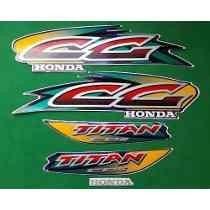 Kit Adesivos Faixas Honda Cg 125 Titan 1999 2000 - Azul
