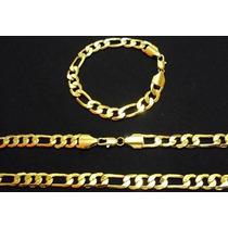 Conjunto Cordão Pulseira Folheado Ouro 18k 60cm C/certificad