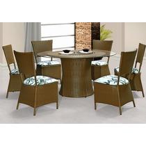 Mesa + 6 Cadeiras Revestida Em Fibra Sintética Para Jardim