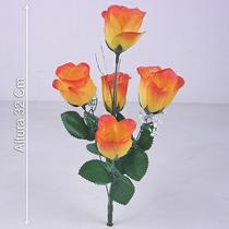Buquê C/ 5 Botões Várias Cores 32 Cm - Flor Artificial