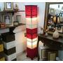 Luminária Em Chenile De Piso 1,50 De Altura Vermelha E Cru.