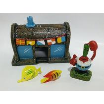 Enfeite Para Aquário Siriguejo Bob Esponja - Kit Com 4 Peças