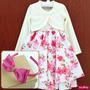 Vestido Festa Infantil Floral Luxo Com Bolero E Tiara